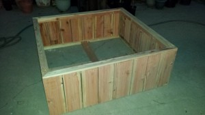 redwood raised bed planter box
