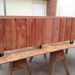 60 x 36 x 18 redwood planter on casters