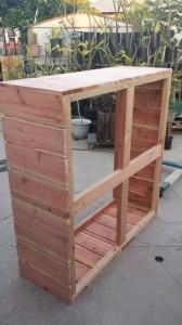 4 foot x 4 foot x 18 inch raised bed redwood planter