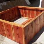 48 x 48 x 18 redwood raised bed made for asphalt