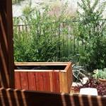 Hillside home elevated redwood planter