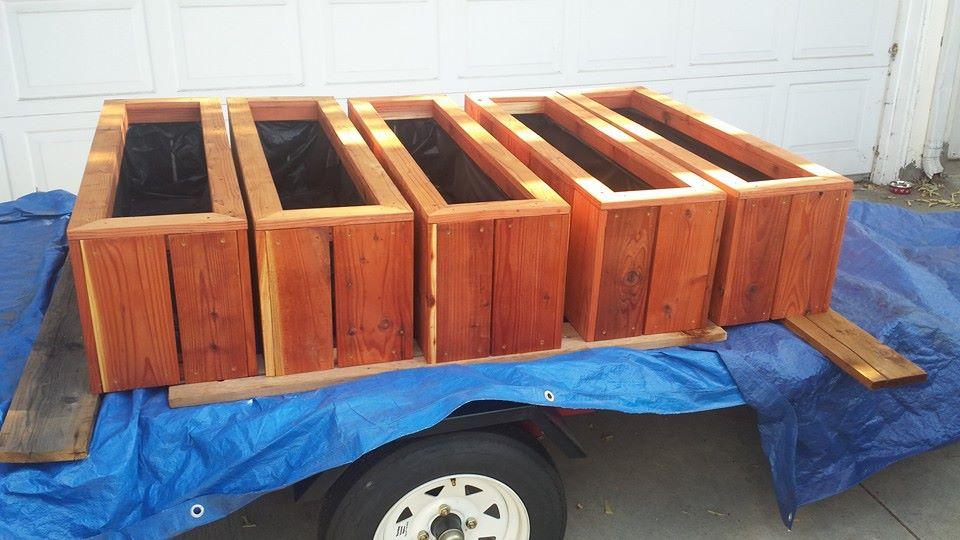 Custom redwood herb planter boxes