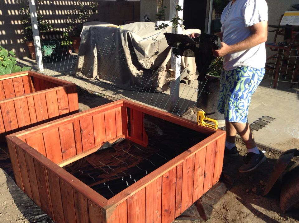 on site install - redwood square foot garden planter box