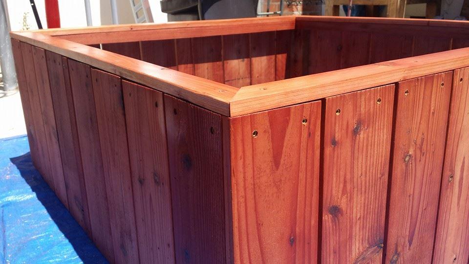 redwood planter raised bed vertical design