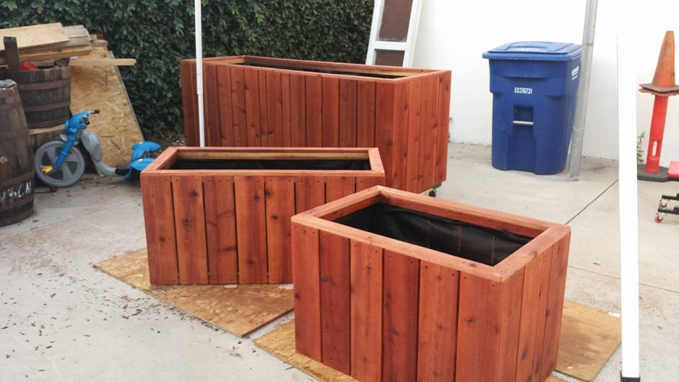 Various Custom sized redwood planters