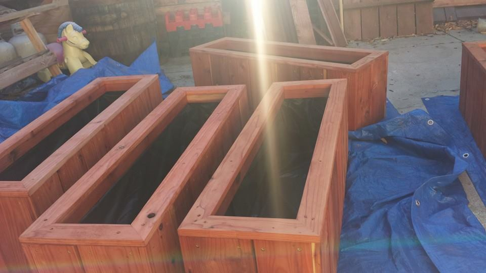 Beveled top raised bed redwood herb planters