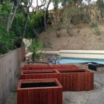 Redwood garden planters in Encino