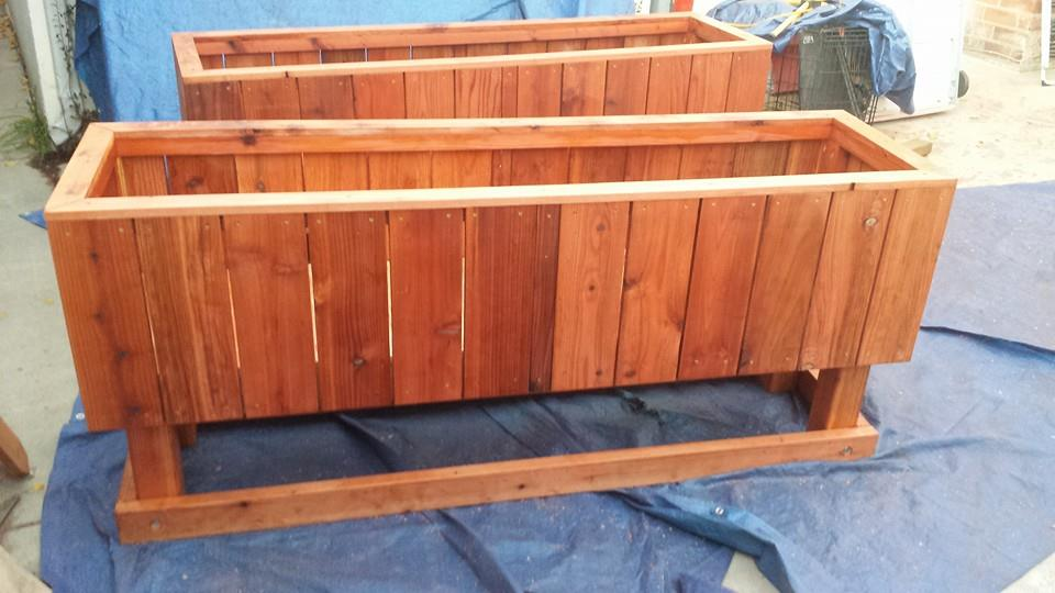 Elevated redwood raised bed planters