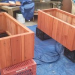 Custom redwood planter veggie garden box