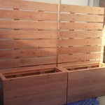 unstained redwood privacy panel planters