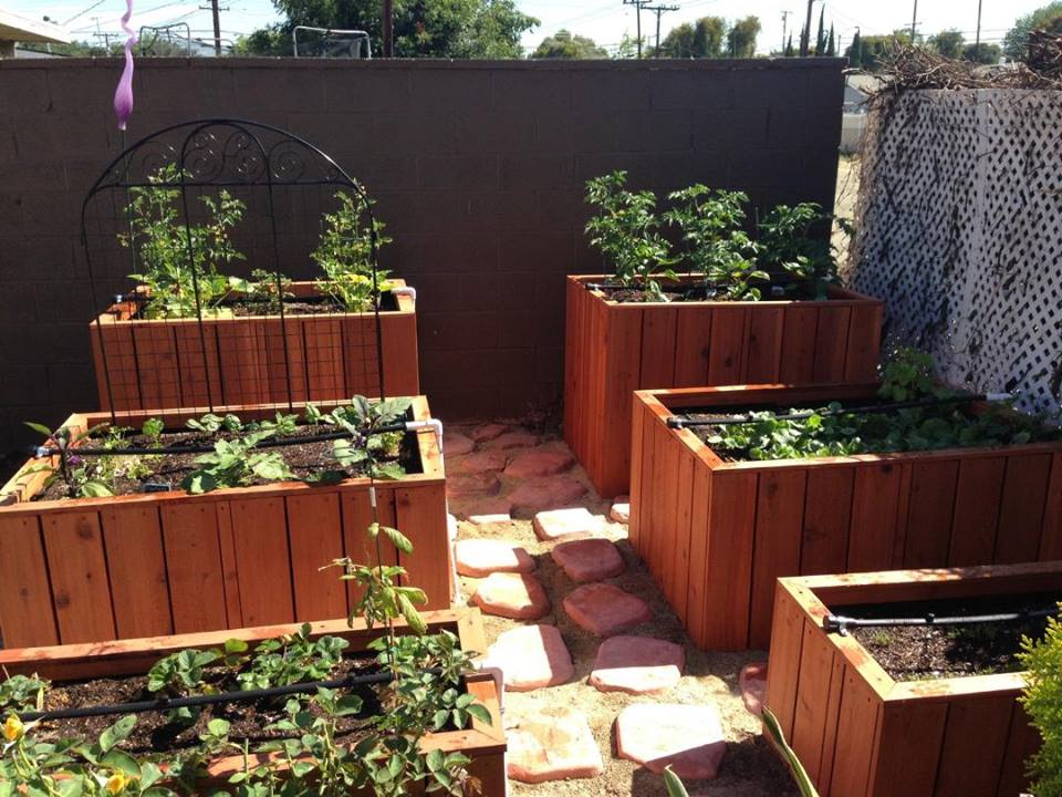 Three tiered redwood raised bed planter garden