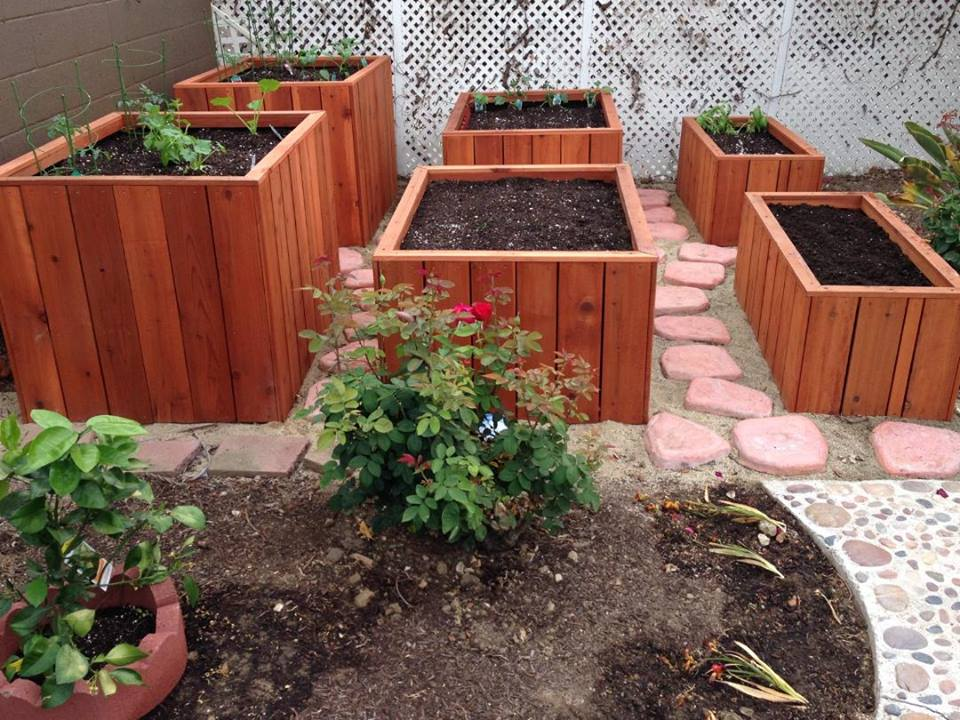 Custom built redwood three tiered planter garden.