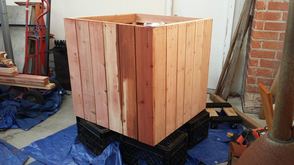 Custom redwood tree planter box - staining