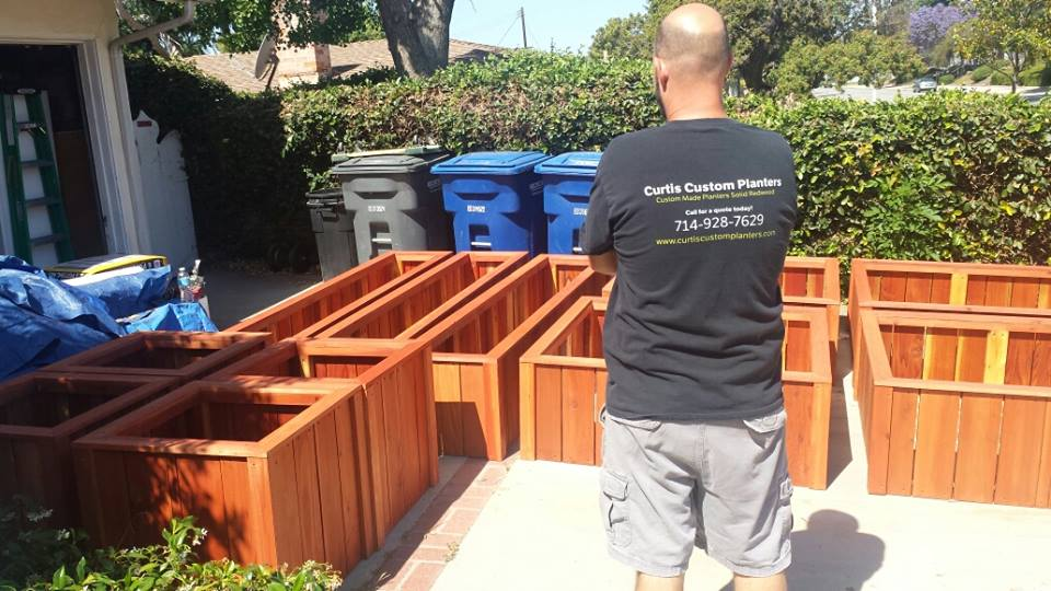 Custom redwood planter boxes