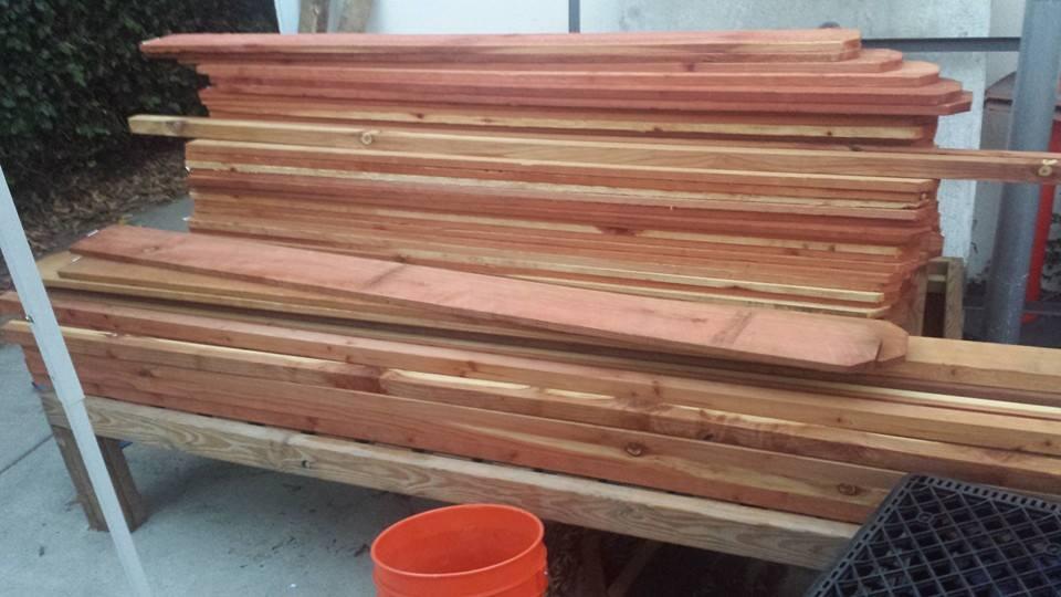 Custom redwood tree planter box - pre-fab
