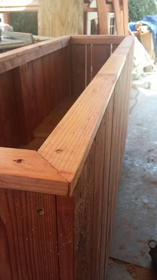 Hidden elevated redwood planter