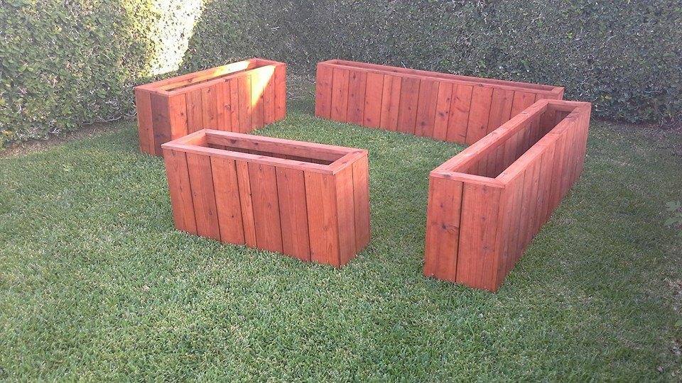 long narrow redwood planters