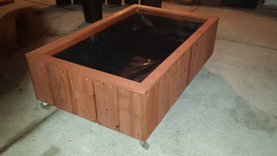 redwood planter box on casters
