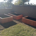 72 x 48 x 18 - raised bed redwood planters - sequoia red