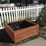 50 x 50 x 18 redwood planter - semi trans acorn brown