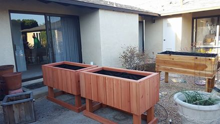 48 x 24 x 32 - Elevated Redwood Planters - sequoia red