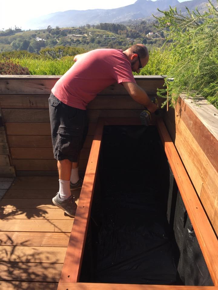 Malibu, CA - Custom Redwood Planter Installed