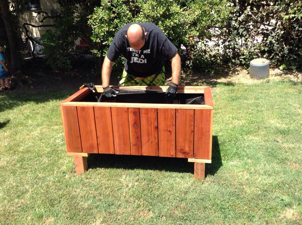 Custom Redwood Planter, installing liner