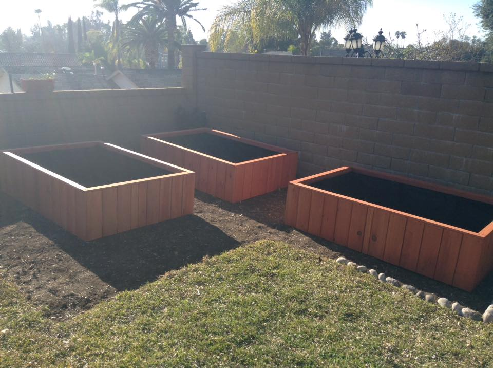 Custom redwood garden planters, Mission Viejo, CA