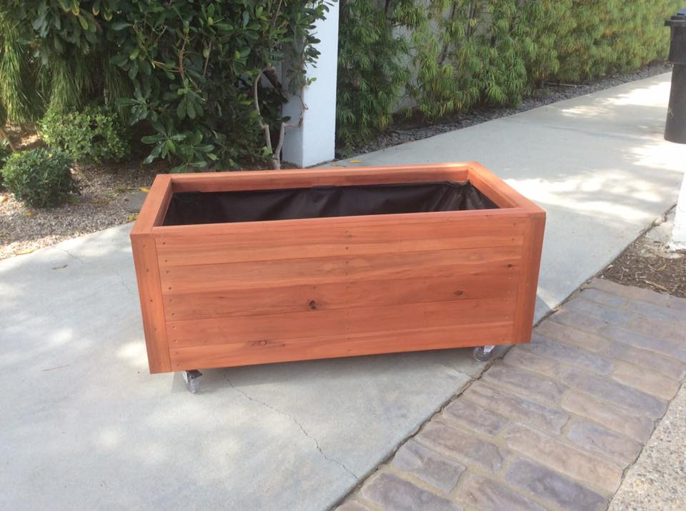 48 x 24 x 18 - redwood planter on casters, Los Angeles, CA