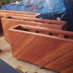 45 degree diagonal aspect raised bed redwood planters