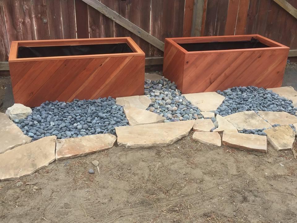 45 degree diagonal aspect raised bed redwood planters